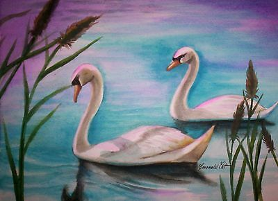 ORIGINAL UNFRAMED SWAN WATER COLOUR PAINTING - By artist Emerald Cat
