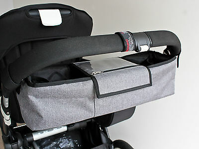 Grey Double Pram & Stroller Bag-Caddy Organiser, Diaper Nappy Bag suit bugaboo
