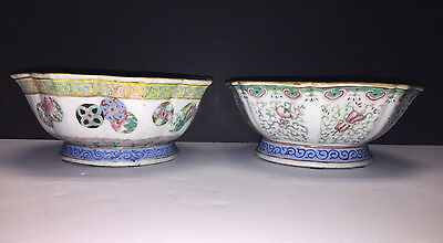 2 Beautiful Antique Chinese Bowls Beautiful Designs Both with Mark