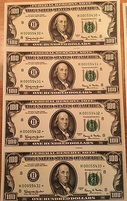 Copy Reproduction 1977 $100 Uncut US Currency Sheet Paper Money