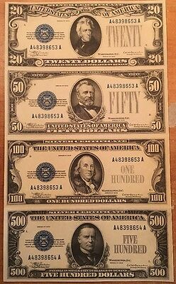 Copy Reproduction 1933 Silver 20-50-100-500 Uncut US Currency Sheet Paper Money