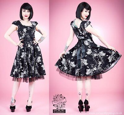 Black and White Floral Dress With Tulle 50s Pinup Size 10