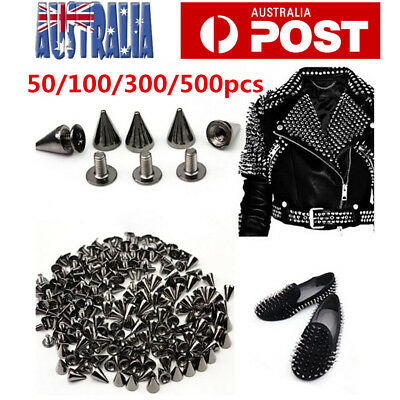 Punk Rock Style Cloth Spots Cone Screw Metal Studs Rivet Bullet Spikes 7x9.5mm