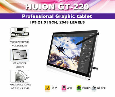 """Huion GT220 21.5"""" 5080LPI Graphic Tablet HD 1080P Monitor IPS Panel Drawing Pen"""