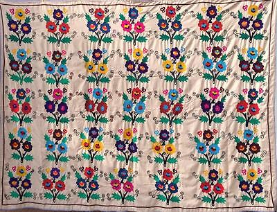 1686 Uzbek Vintage Hand Made Flowers Suzani From Surkhandarya