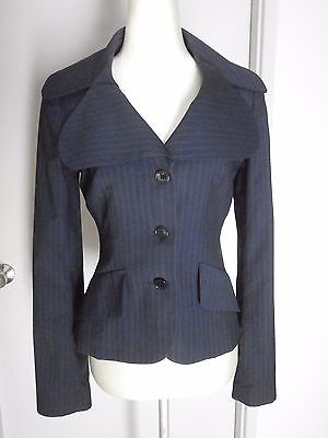 PIERUCCI Vintage Blue Stripe 100% Wool Fitted  Blazer Jacket Size 8