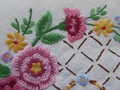VINTAGE TABLE CLOTH HAND EMBROIDERED Square White Linen Pastel Floral Design