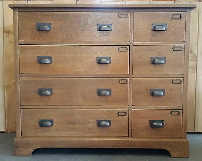 Vintage Industrial Oak Mid Centry Artist Architects Engineers Chest of Drawers
