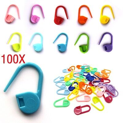 100X Plastic Locking Needle Stitch Holders Markers Crochet Knitting Craft Clip
