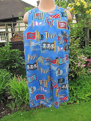 Boys Adjustable Dungarees, Blue, Pirate Flags, Age 18-24 months, New, Handmade