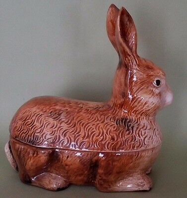 Vintage French Majolica Tureen signed Caugant The Rabbit