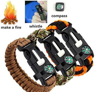Outdoor Survival Paracord Bracelet Flint Whistle Compass Camping 5 in 1 Kit