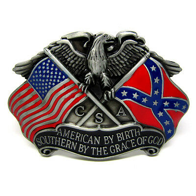 American Flag By Birth Southern By The Grace Of God Eagle Flag Belt Buckle Mens