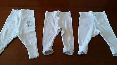 3 x boys girls Bonds white pants sz 000 0-3mths