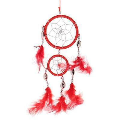 "13"" Traditional Red Dream Catcher with Feathers Wall or Car Hanging Ornament"