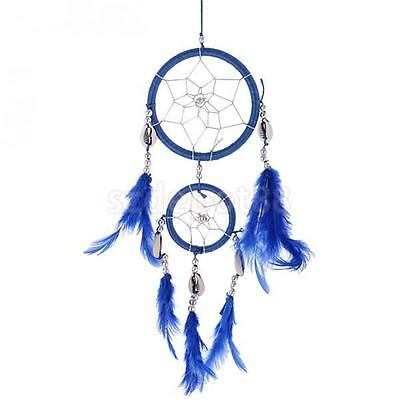 13'' Blue Handmade Dream Catcher With Feathers Car Wall Hanging Ornament