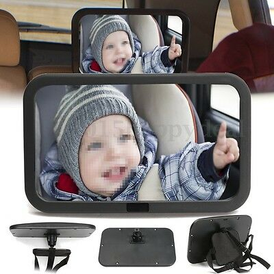 ADJUSTABLE WIDE VIEW REAR Baby Child Car Seat SAFETY MIRROR Headrest Mount LARGE