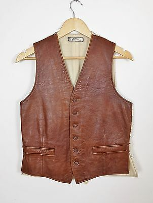 Good Companion Vtg Leather Jerkin 40s Leather Vest 40s Waistcoat Vtg Hunting 50s