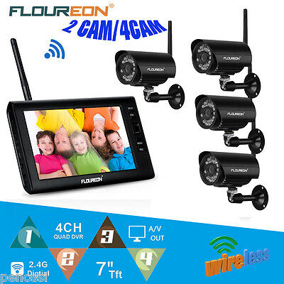 "7"" Wireless TFT/LCD CCTV DVR Monitor Home Video Security IR Camera System Kit AU"