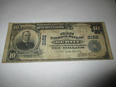 $10 1902 De Witt Iowa IA National Currency Bank Note Bill! Ch. #3182 RARE!