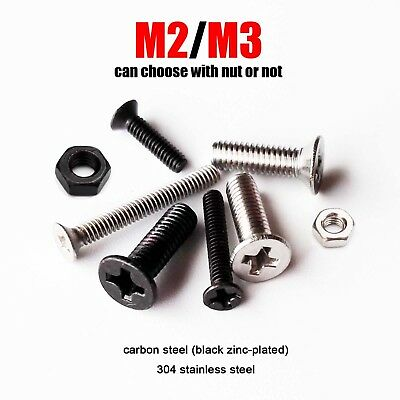 25/100X M2 M3 Phillips Flat Countersunk Head Bolt Screw Nut A2 black zinc plated