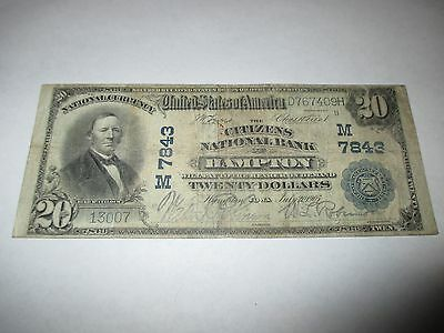 $20 1902 Hampton Iowa IA National Currency Bank Note Bill! Ch. #7843 Fine RARE!