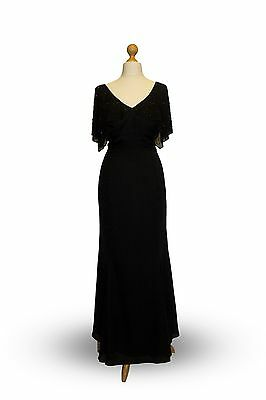 Ladies/girls Long Black Chiffon & Lace Prom/cruise/party/evening/ballgown/dress