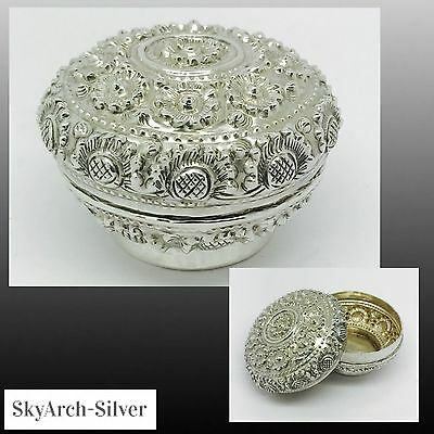 SOLID SILVER Trinket Box C1890 STUNNING Indian Silver