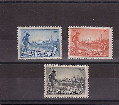 Australia Stamp Set 1934 Sg 147-149 Cv £61.50 Mh Mint Hinged With Crease