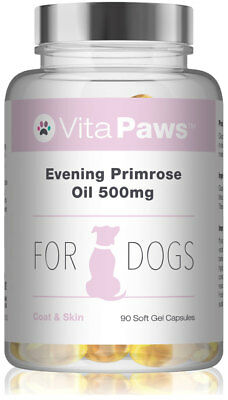 Evening Primrose Oil 500mg For Dogs By VitaPaws™ 90 Soft Gel Capsules