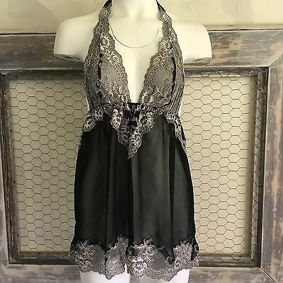 Victorias Secret Lingerie Nightie S Small Black Grey Lace Babydoll Chemise