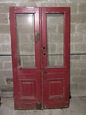ANTIQUE OAK DOUBLE ENTRANCE FRENCH DOORS ~ 48 x 85.25 ~ ARCHITECTURAL SALVAGE