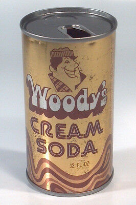 Vintage Woody's Creme Steel Soda Pop 12oz Can, Coca-Cola Bottling Madison WI