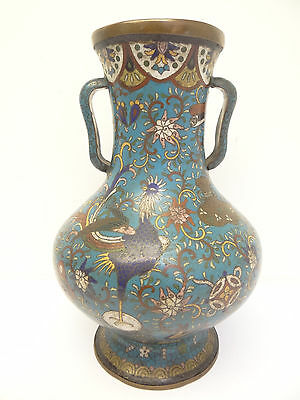 Antique Old Signed Cloisonné Blue Chinese China Ming Style Peacock Large Vase