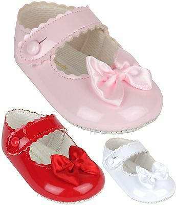 BabyPrem Baby Carriage Girls Classic BayPods Stroller Shoes White Pink Red 0-18m