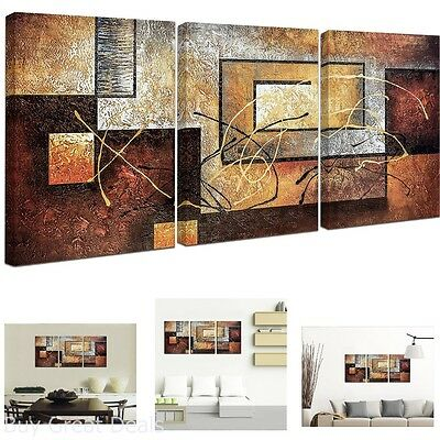 Modern Oil Painting Art Canvas 3 Wall Abstract Large Framed Huge 3 Painting New