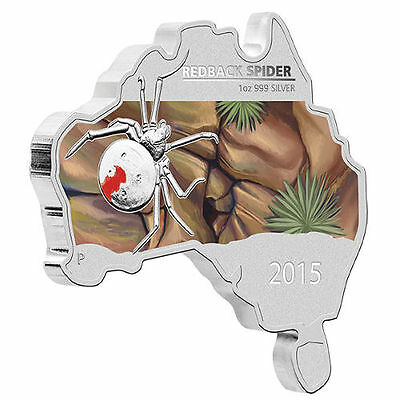 2015 Australian Map Shaped Coin Series Redback Spider 1 oz Silver Proof Coin