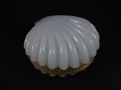Antique French Opaline Glass Jewelry Casket / Box - Clamshell Shape