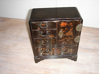 Victorian-Antique-Japanese/chinese-Serpentine-Lacquered-Jewelry-Tansu-Cabinet
