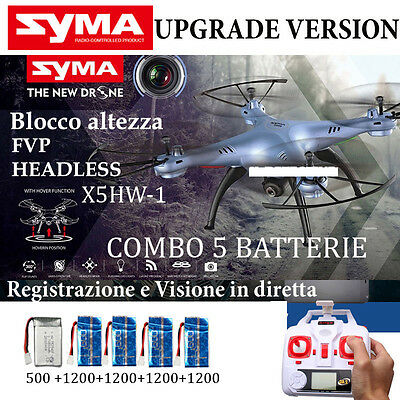 Drone SYMA X5HW-1 FPV HEADLESS CAMERA HD real time WiFi BATTERIE + RICAMBI