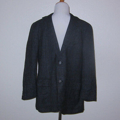 Vtg Brooks Brothers Blue Gray Red Plaid Wool Tweed 3 Roll 2 Button Sport Coat 38