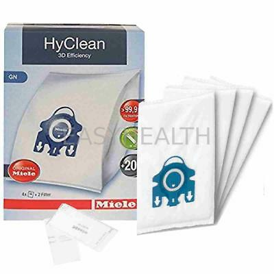 4 Miele GN Hyclean 3D Efficiency Vacuum Hoover Cleaner Dust Bags & 2 Filters