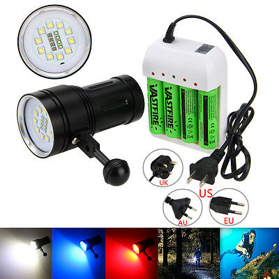 Photography Video 12000LM 10x XM-L2 LED SCUBA Diving Flashlight Torch 4x 18650