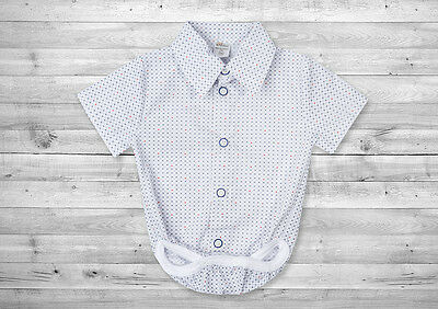 Baby Boy White Smart Shirt Formal Bodysuit Body Shirt Summer Short Sleeve 0-24m
