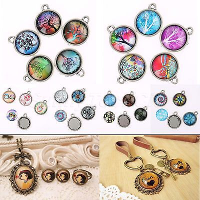 "10pcs 0.79"" Glass Cabochon & 10pcs Cabochon Base Pendants Beauty Craft Set"