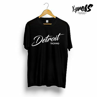 DETROIT TECHNO Printed Mens T-Shirt Underground Music Original Black Tee House