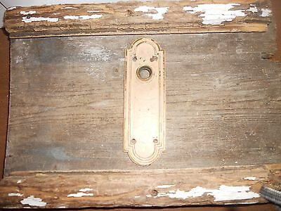 Vtg Heavy Corbin Cast Brass Chippy Beige/tan Shabby Arched Door Knob Back Plate