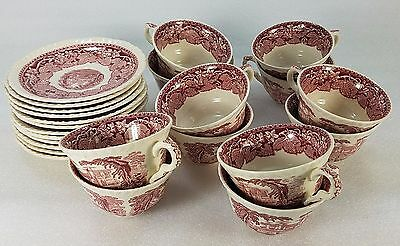 Vintage Mason's England VISTA Pink/Red Ironstone SET OF 12 CUPS & SAUCERS