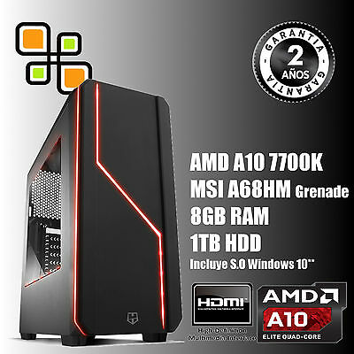 Ordenador de sobremesa PC Gaming AMD A10 7700K+8GB RAM+1Tb HDD / HDMI y WIFI