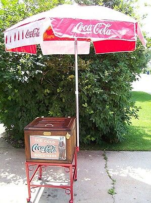 Antique 20's White-Clad Wooden Ice-Box Chest Coca Cola Cooler Umbrella & Cart